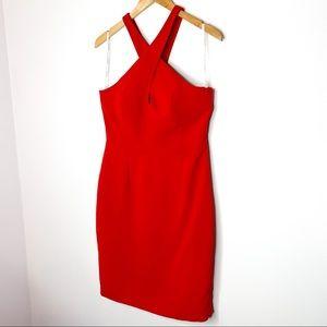 Calvin Klein Red Halter Neck Cocktail Dress Size 8